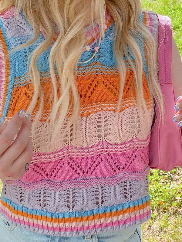Crochet Hollow Striped Crop Sweater Vest - Pink L