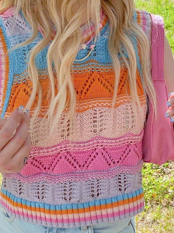 Crochet Hollow Striped Crop Sweater Vest - Pink M