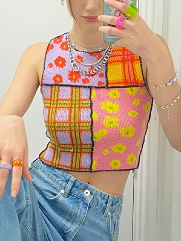 Patchwork Cropped Sweater Vest - Yellow L