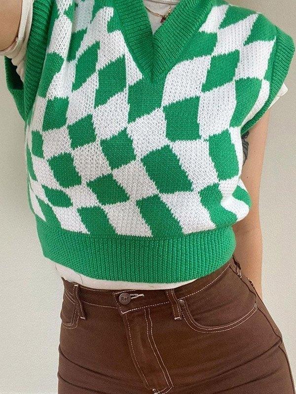 Checkered Print Argyle Crop Sweater Vest - Green ONE SIZE