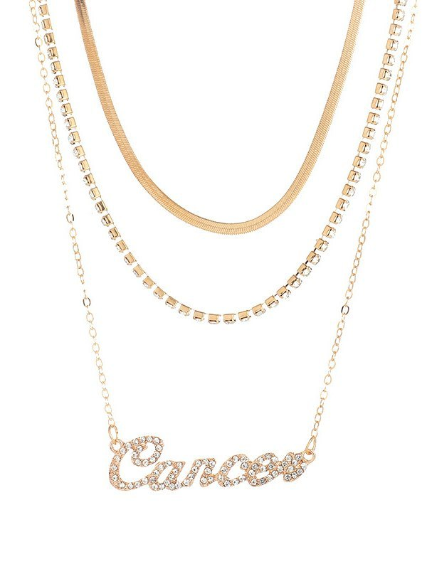 12 Constellations Multi-layer Necklace -  ONE SIZE