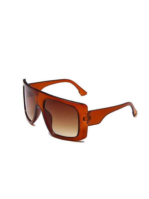 Oversized Square Sunglasses - Brown ONE SIZE