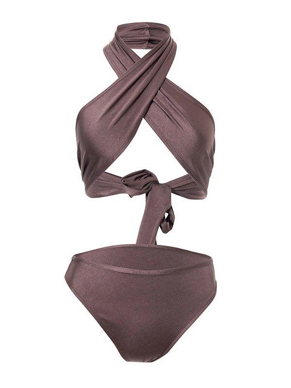 Cutout Bikini Swimsuit - Brown L