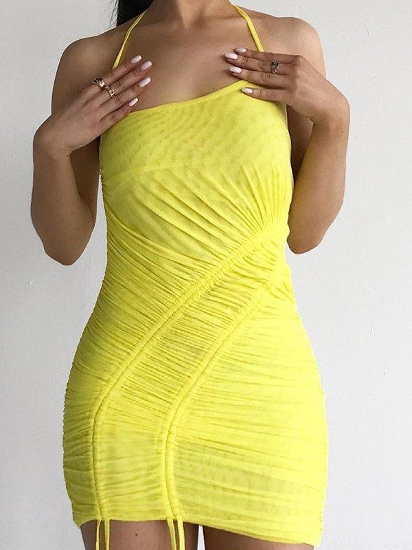 Drawstring Mini Dress - Yellow L