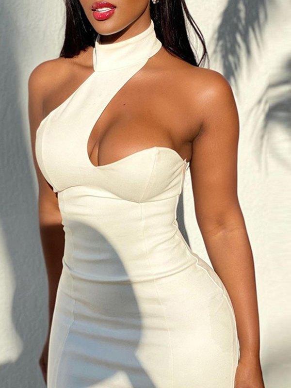 Asymmetry Backless Mini Dress - White L