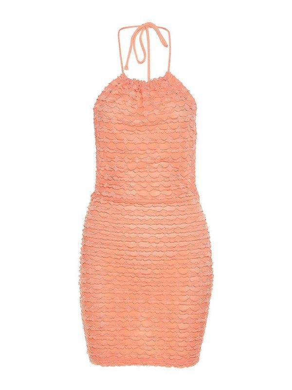 Backless Halter Mini Dress - Orange L
