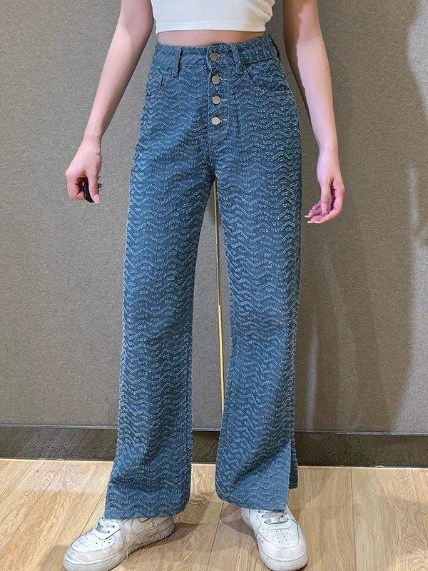 High Waist Wave Jeans - Blue L