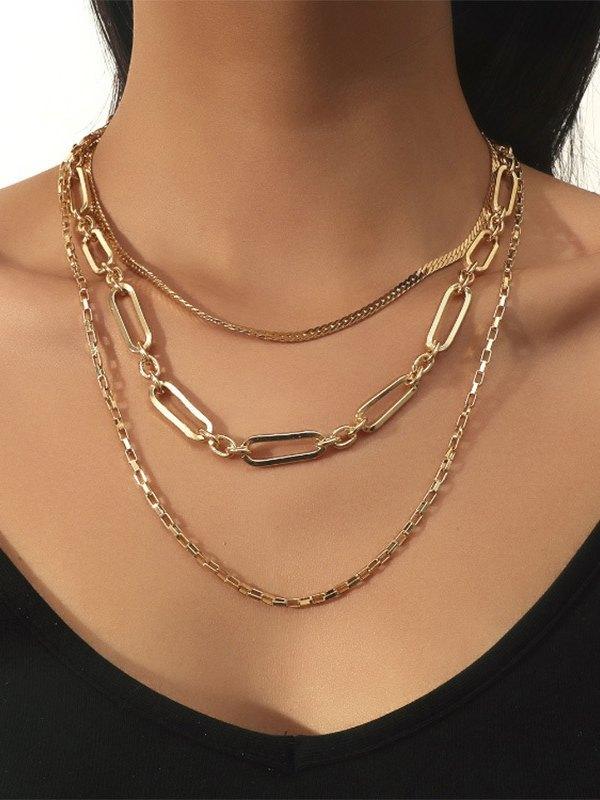Snake Bone Multi-layer Necklace - Golden ONE SIZE