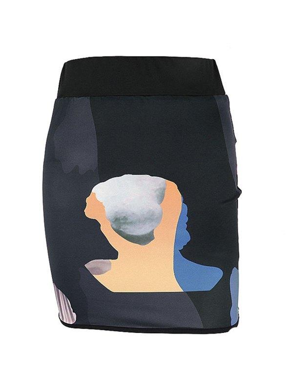 Cutout Pop Printing Skirts - Black L