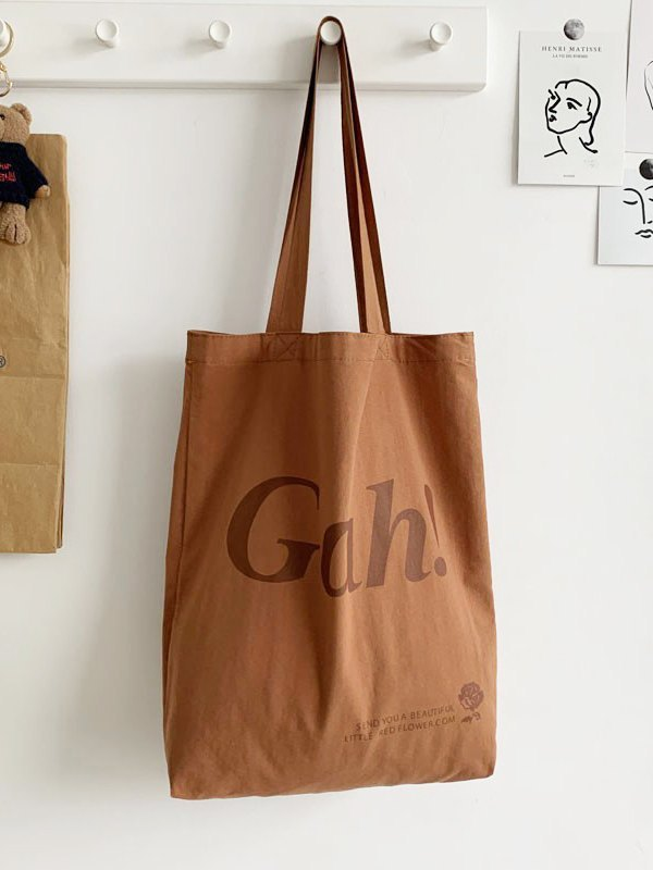 Letter High Capacity Shopping Bag - Brown ONE SIZE