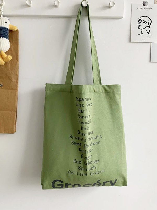 Letter High Capacity Shopping Bag - Green ONE SIZE