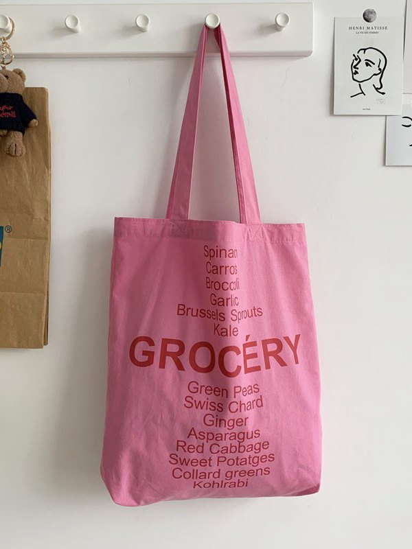 Letter High Capacity Shopping Bag - Pink ONE SIZE