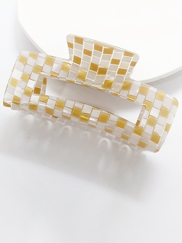 Lattice Rectangle Claw Clip - Yellow ONE SIZE