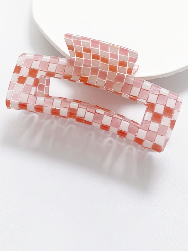 Lattice Rectangle Claw Clip - Pink ONE SIZE