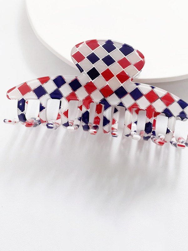 Gradient Lattice Rectangle Claw Clip - Red ONE SIZE
