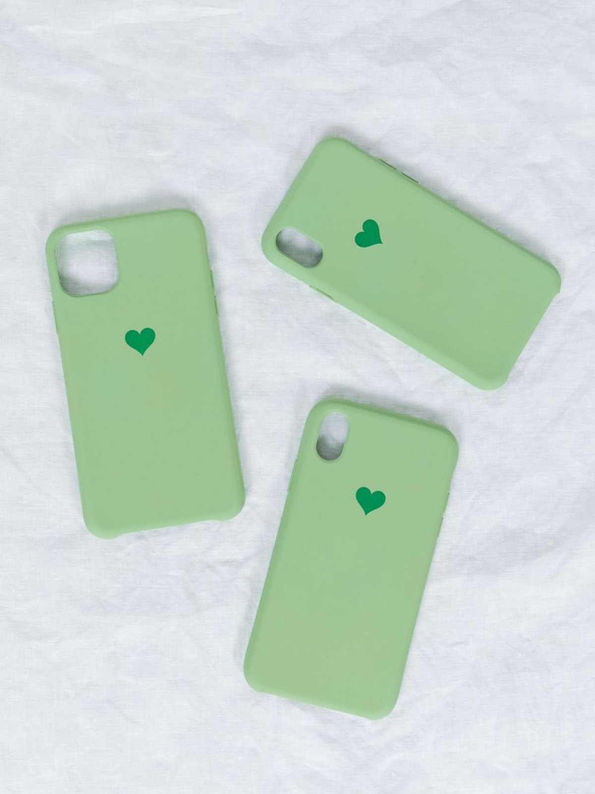1Pcs Heart-shaped Iphone Cases - Green iPhone 12Mini