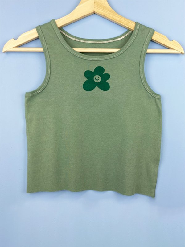 Floral Smiley Top - Green L