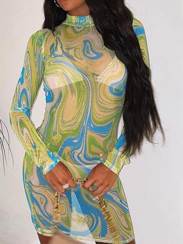 Ripple Net Yarn Translucent Mini Dress - Green M