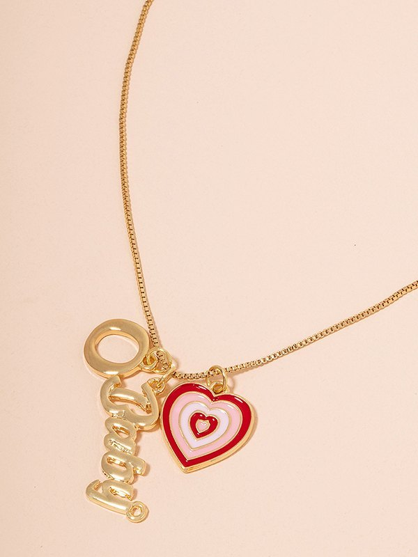Gradient Heart-shaped Pendant Necklace - Golden ONE SIZE