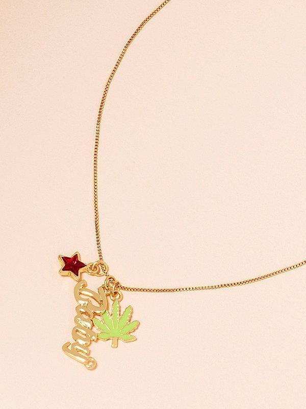 Maple Leaf Letter Pendant Necklace - Golden ONE SIZE