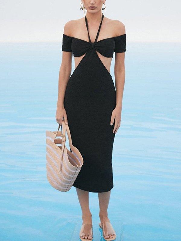 Cutout Bardot Halter Knit Midi Dress - Black L