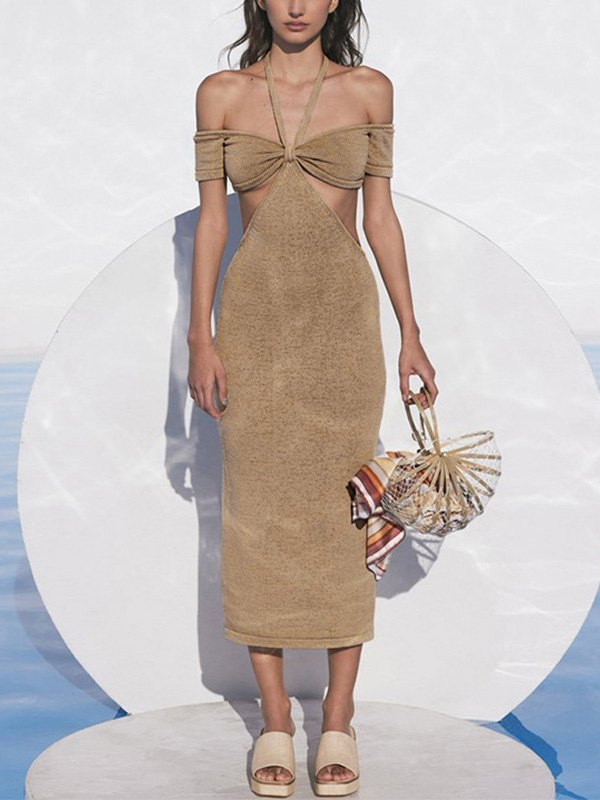 Cutout Bardot Halter Knit Midi Dress - Khaki M