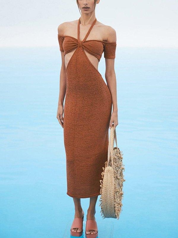 Cutout Bardot Halter Knit Midi Dress - Red M