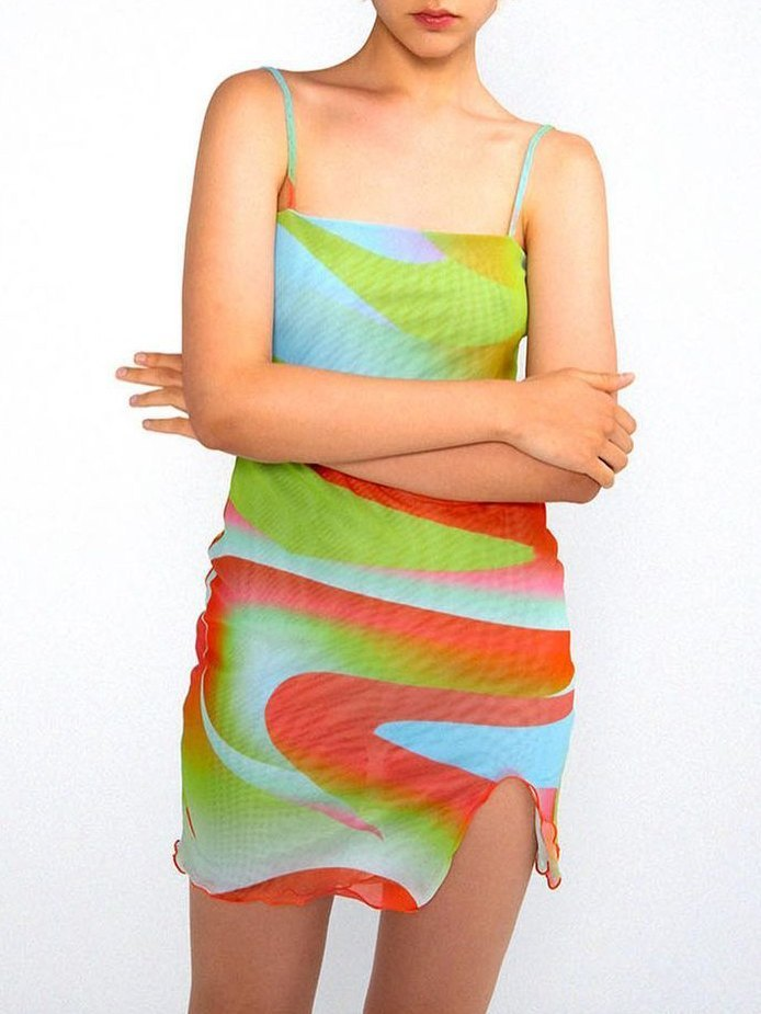 Abstract Print Mesh Midi Dress - Green M