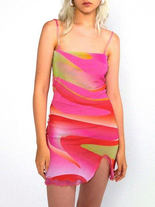 Abstract Print Mesh Midi Dress - Mixcolor L