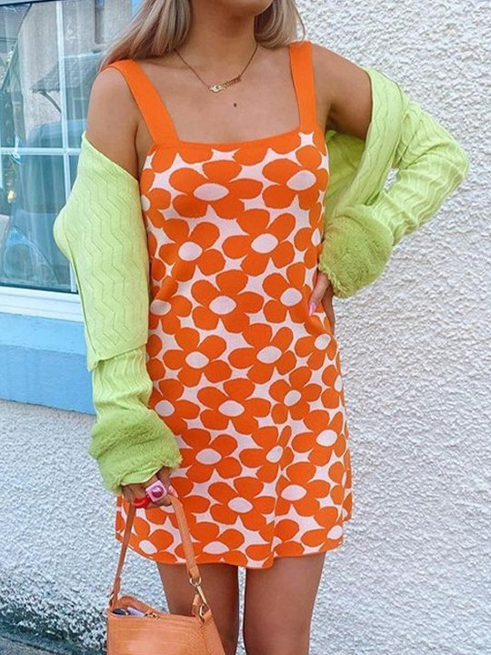 Woolen Flower Bodycon Mini Dress - Orange L