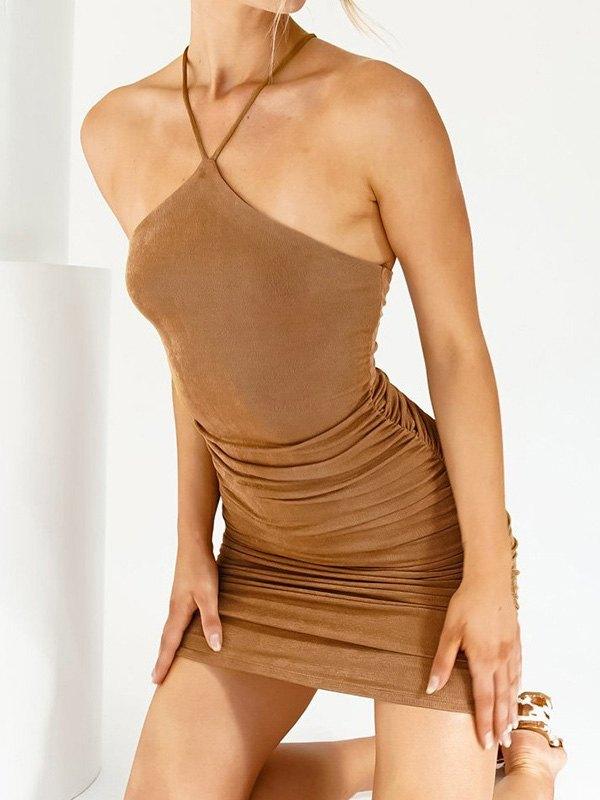 Ruched Halter Knit Mini Dress - Brown L