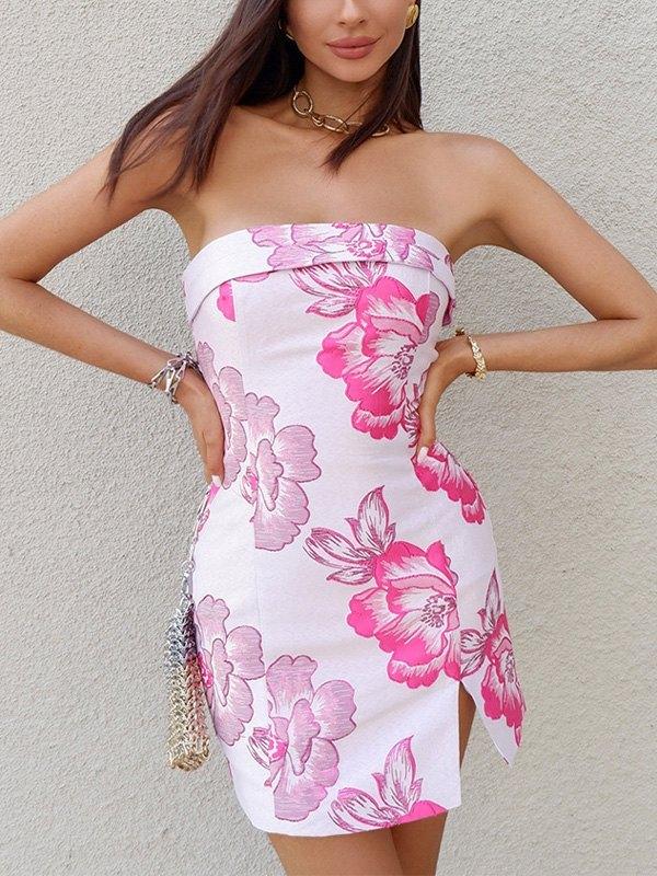 Strapless Floral Print Slit Mini Dress - Pink M