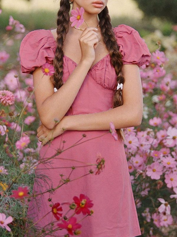 V Neck Puff Sleeve Mini Dress - Pink S