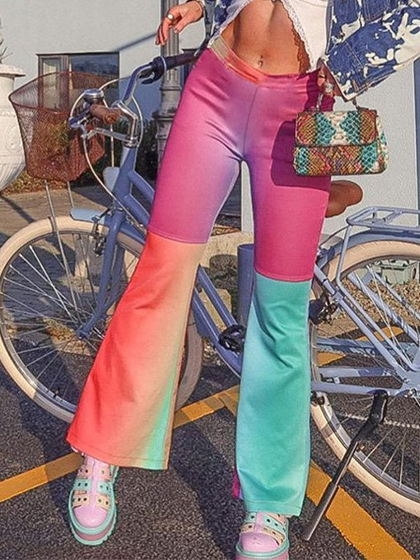 Ombre Patchwork Flare Leg Pants - As The Picture L