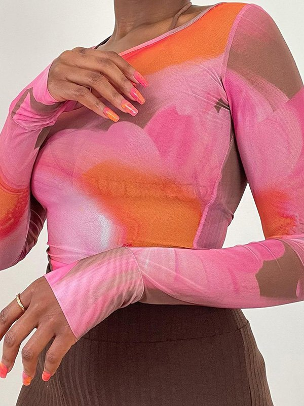 Sheer Mesh Printed Long Sleeve Tee - Pink S