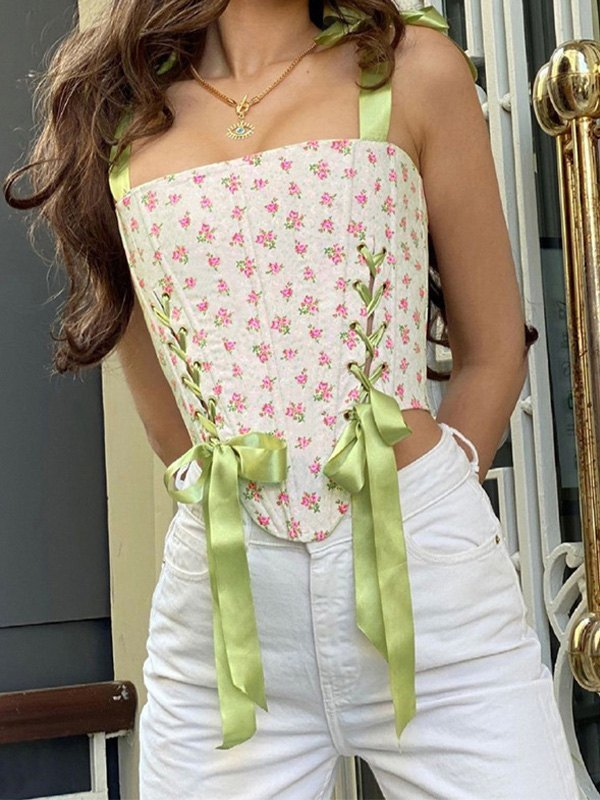 Lace Up Floral Crop Tank Top - Pink S