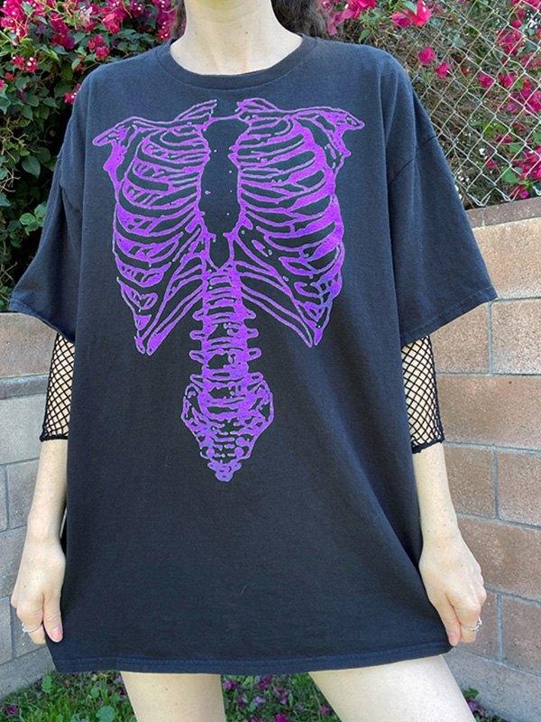Skeleton Print Oversized Tee - Purple S