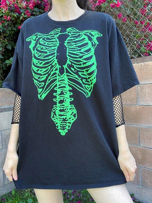 Skeleton Print Oversized Tee - Green L