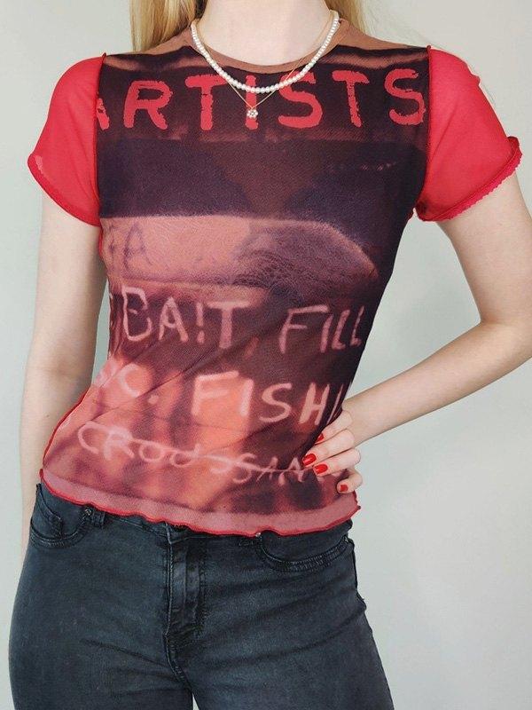 Mesh Printed Raglan Tee - Red S