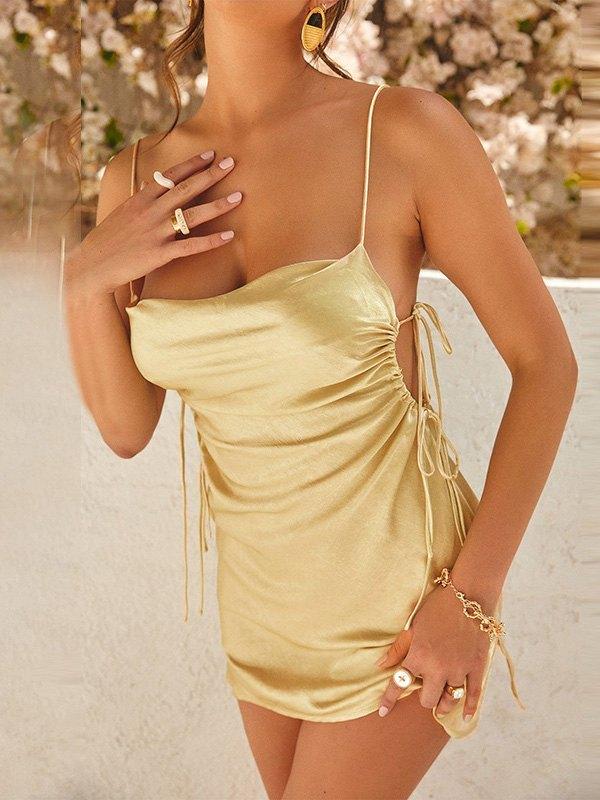 Satin Ruched Slip Mini Dress - Golden L