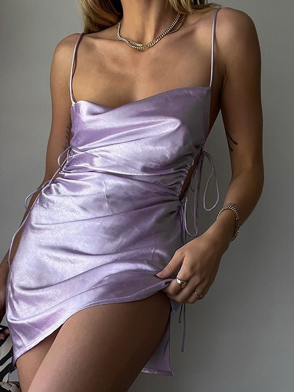 Satin Ruched Slip Mini Dress - Purple S