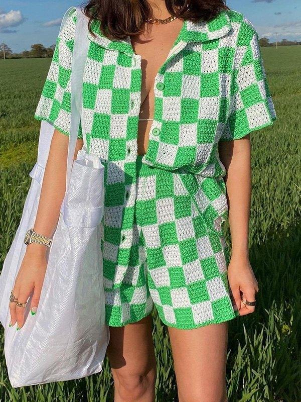 Crochet Knit Checkered Print Set - Green M