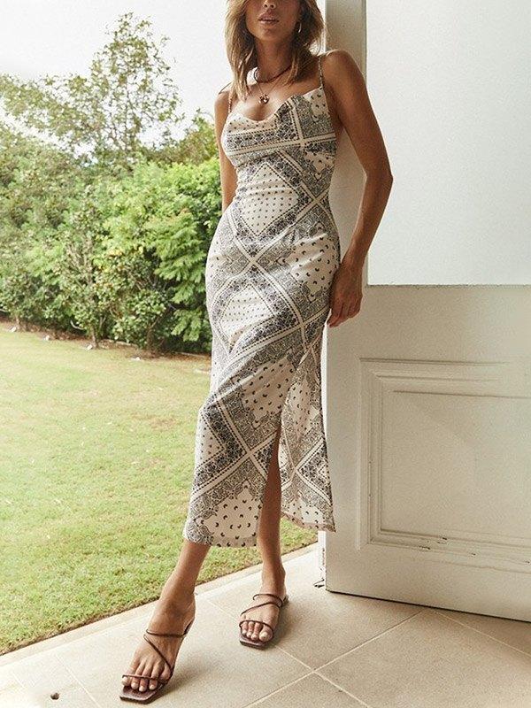 Bandana Print Slit Midi Dress - As The Picture L