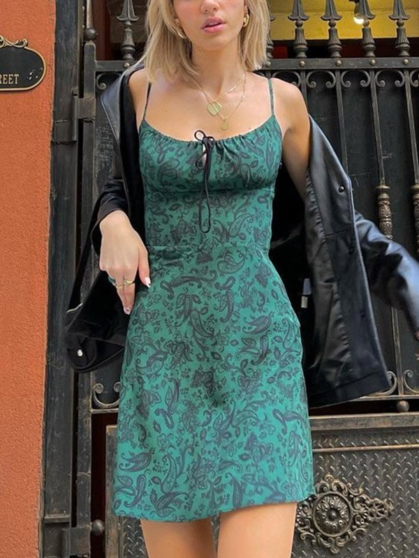 Lace Up Paisley Print Mini Dress -