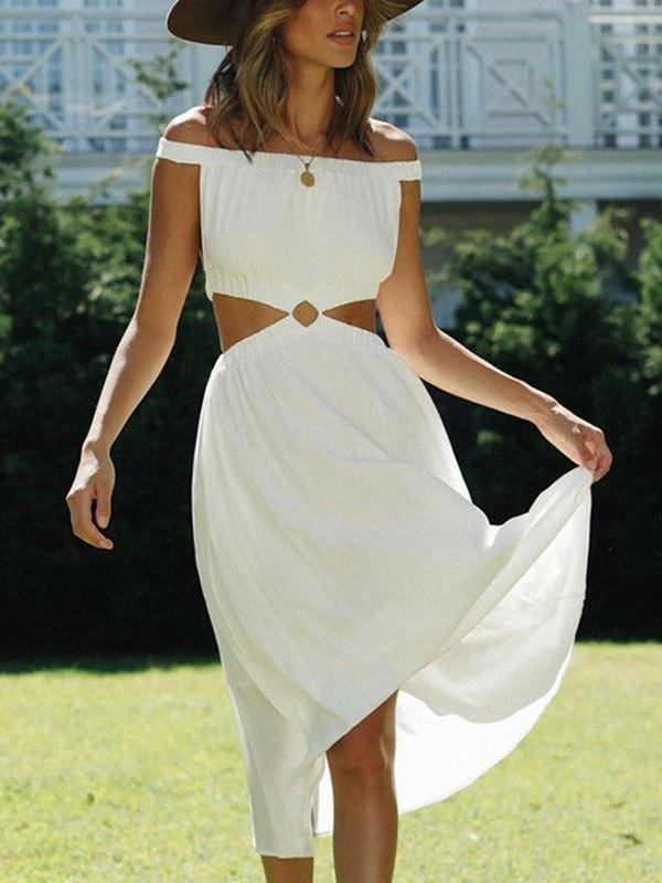 Off Shoulder Cutout Midi Dress - White L