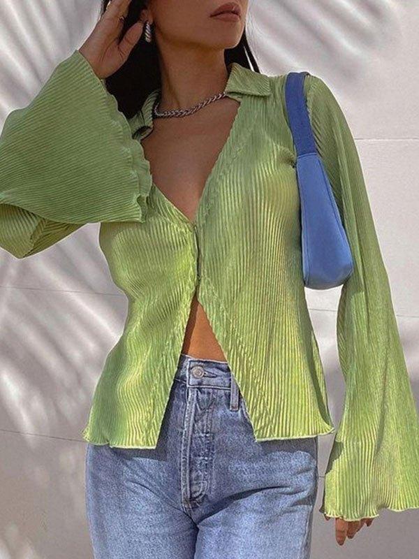 Blusa de manga larga con cuello en V -