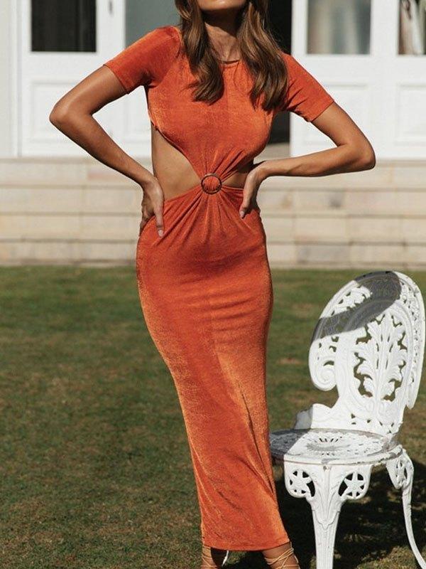 Backless Short Sleeve Midi Dress - Orange M