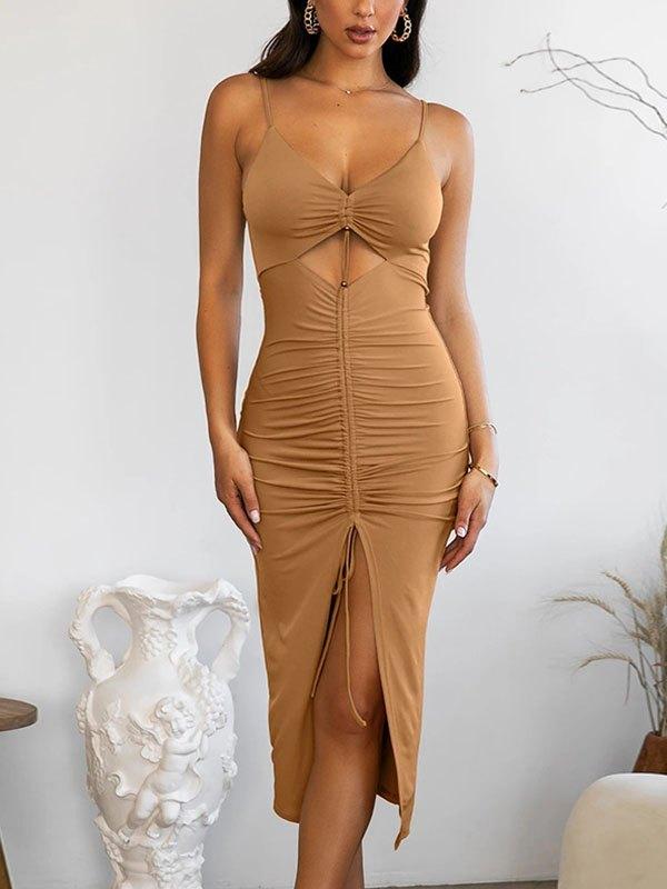 Ruched Cutout Slit Midi Dress - Khaki S