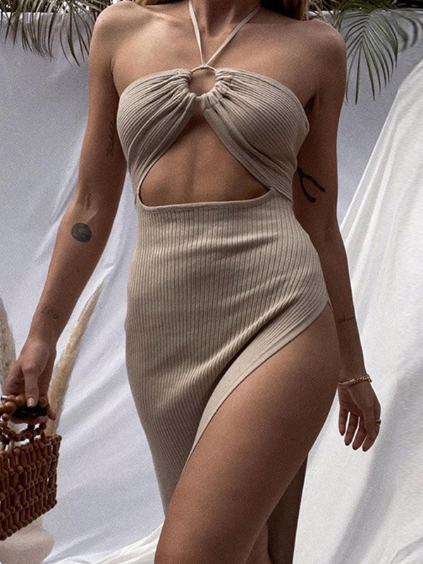 Ribbed Cutout Halter Slit Midi Dress - Khaki S