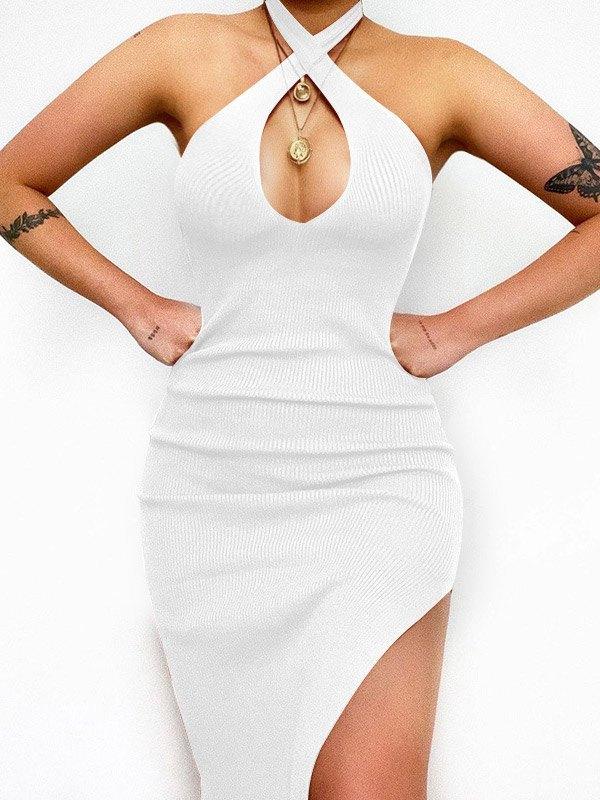Criss Cross Slit Halter Knit Maxi Dress - White L